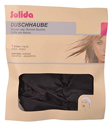 Solida Bonnet de douche froncée en taffetas noir, pack de 1 (1 x 1 pièce)