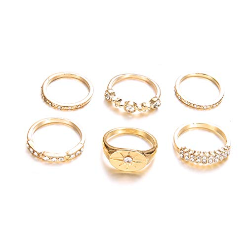 VWH 6 Pieces Thin Ring Set Gold Color Rings Wedding Band for Women Girl