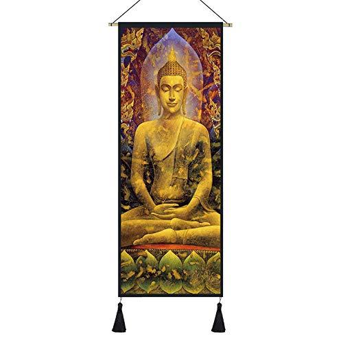 Wallpaper home Cartel Imagen Mural Sudeste Asiático Yoga Elefante Buda Estatua Colgante Tela Tailandés Fitness Tapiz Tailandés Colgante Pintura-3_Los 45x120cm