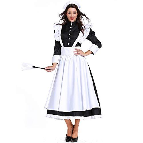 OUJIE Schwarze Und Weiße Damenkleider, Halloween-Dekorationen, Butler-Kleidung Für Film-Rollenspiele, Französische Dienstmädchen, Bedienstete, Weiße Kleider,L