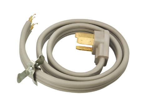 Southwire 9014SW8809 Range Power Cord, 4-Foot, 1/4-Inch Flanged Terminals, Flat Plug, Compatible With Most Standard Free Standing Electrical Ranges With A 3 Conductor Wall Outlet, 125/250-Volt, 50-Amp