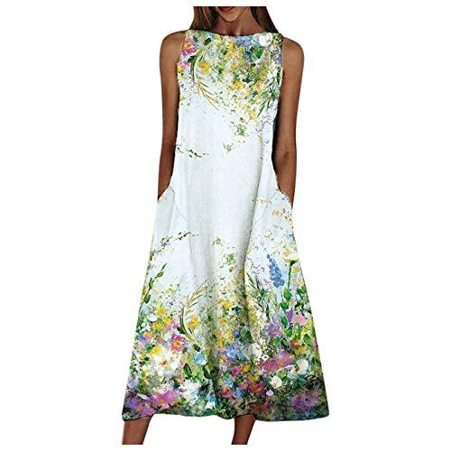 Women Casual Maxi Dress Summer Beach Shirt Dress Long Dresses with Pockets Holiday Dress Big Swing Pocket Maxi Dress Sleeveless Print Dress Green