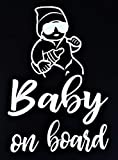 Baby on Board Aufkleber 20x14cm - Auto Aufkleber Weiß - Sticker Wasserfest und Langlebig - Baby on Board Aufkleber Auto