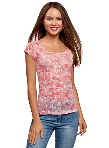 oodji Collection Mujer Camiseta Estampada de Manga Tipo Raglán, Rosa,