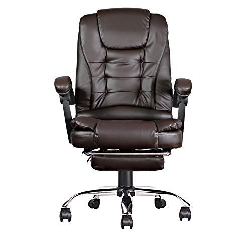 Silla ergonómica, asiento tapizado, silla de jefe con reposabrazos, silla de juegos, silla de oficina cardio, altura ajustable (ámbar)