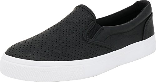 Soda IF14 Women's Perforated Slip On Elastic Panel Athletic Fashion Sneaker, Color:Black PU, Size:5.5