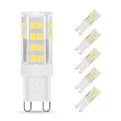 Bombilla LED G9 de 4W Equivalente a 40W Lampara Halógena, Blanco Frío (6000k), 400LM, No regulable, Sin parpadeo, Sin Estroboscópico, 360 Grados, lámpara g9 para iluminación del hogar, paquete de 5