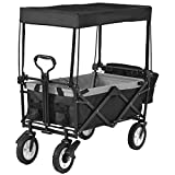 Drohneks Carro de jardín Vagones Vagón de vagón Plegable con Dosel Giratorio Vagón de vagón Plegable 4 Ruedas (Negro) - Capacidad de 150 kg