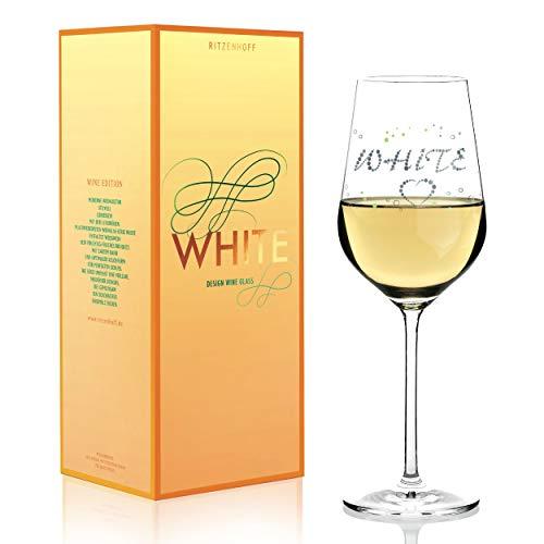 RITZENHOFF witte wijnglas van Sabine Röhse, van kristalglas, 360 ml, met edele platina-delen