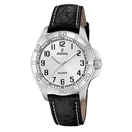 Reloj Festina Hombre Esfera Plateada 44 mm Correa de Piel Negra F20444