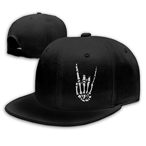 Michgton Rock N Roll Skeleton Hand 5 Unisex Snapback Flat Bill Baseball Cap Black
