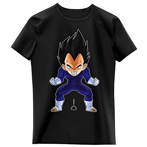 Okiwoki T-Shirt Enfant Fille Noir Parodie Dragon Ball Z - DBZ - Végéta - Super Caca Vol.2 (T-Shirt Enfant de qualité Premium de Taille 11-12 Ans - imprimé en France)