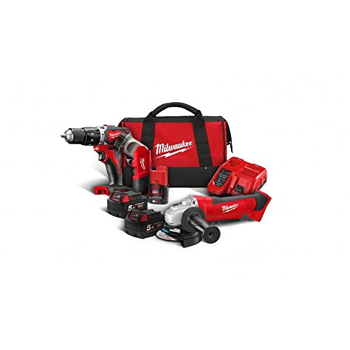 Milwaukee M18BSET2A-513B Compact Percussion Drill and Angle Grinder Kit with Batteries, Bag, Charger & Torch