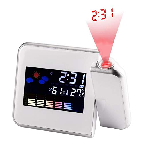 Cisixin LCD Horloge Tableau Projection Num/érique Snooze R/éveil Color/é LED Changement /étoile Starry Night Sky Projecteur