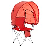 BrylaneHome Camp Chair with Canopy, Coral