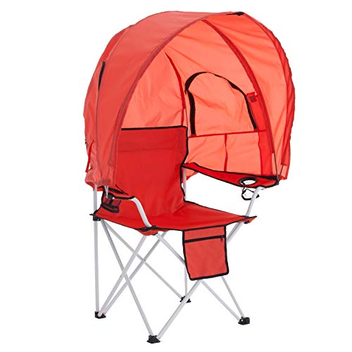 BrylaneHome Camp Chair with Canopy Shade Folding Chair, 2 Cupholders, Breeze