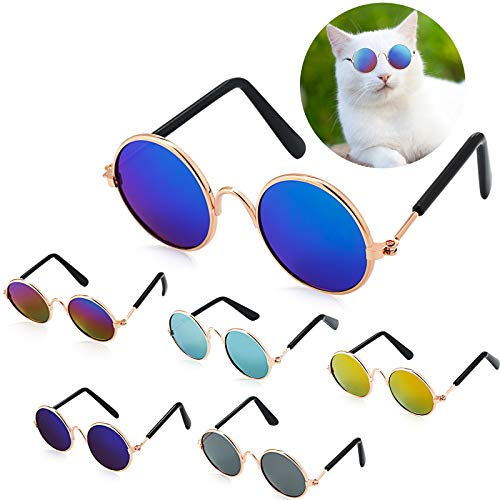 6 Pieces Funny Cute Cat Small Dog Sunglasses Classic Retro Circular Metal Prince Sunglasses Eye-wear...