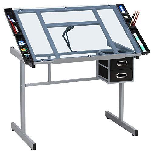 Yaheetech Adjustable Glass Drafting Table Drawing Desk Diamond Art...