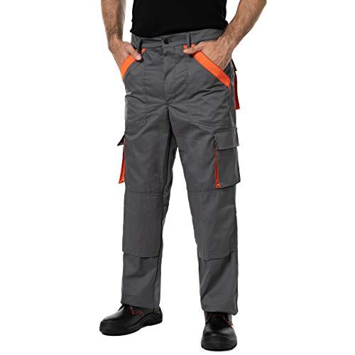 Pantalones de Trabajo para Hombre, Made in EU, Refuerzo y Acolchado en Las Rodillas, Pantalones Cargo (L, Gris)
