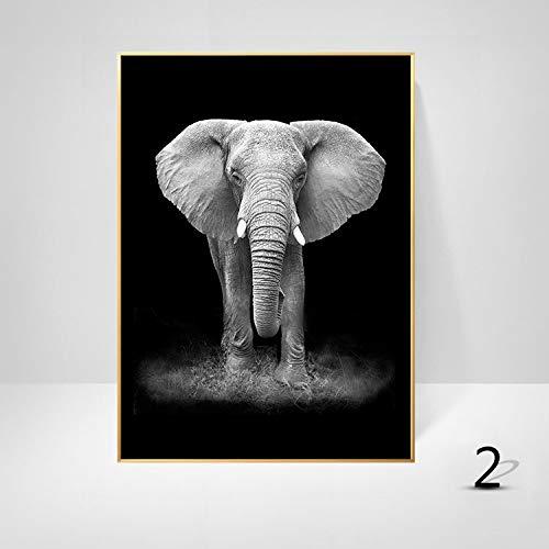 WSNDGWS nórdico Moderno Minimalista Pintura al óleo Elefante de Dibujos Animados Cebra Jirafa Leopardo Animal sin Marco Pintura Decorativa Sala de Estar Pintura núcleo sin Marco B2 40x50cm