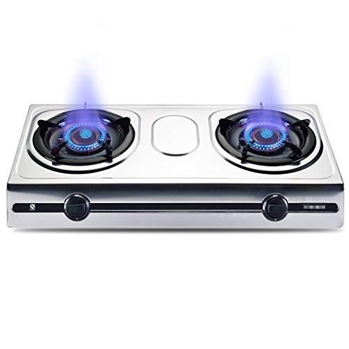 HJJ Flop TAPT-Top Hot SHIRING HOODIDAD - Placa 70x38x9cm 2 quemadores LPG/NG Cocina de Gas Dual de Combustible Estufa de Gas con Soporte de Cacerola de Hierro Fundido [Clase energética A]