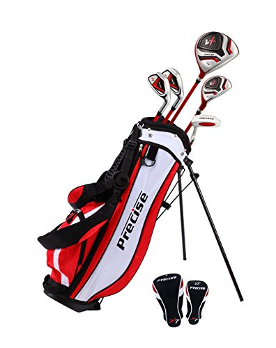 Precise X7 Junior Complete Golf Club Set for Children Kids - 3 Age Groups Boys & Girls - Right Hand & Left Hand! (Red Ages 6-8, Left Hand)