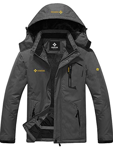 GEMYSE Men's Mountain Waterproof Ski Snow Jacket Winter Windproof Rain Jacket (Pure Iron Grey,Large)