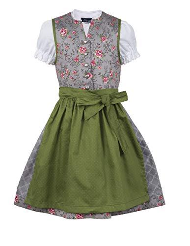 Ramona Lippert Dirndl Kinderdirndl Priscilla - Trachtenkleid Mädchen grau grün (86-92)