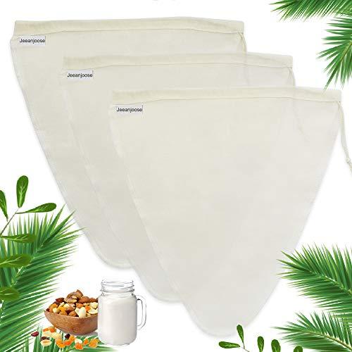 Jeeanjoose Nut Milk Bags, Nussmilchbeutel, Cheese Cloths Passiertuch Filterbeutel, 3er Pack KäSetuch, Produzieren Sie Mandelmilch, Nussmilch, GeträNke Filter