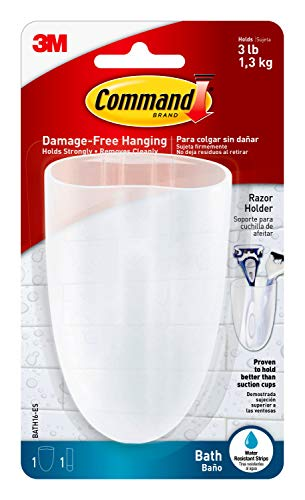 Command Bath Razor Holder, Clear Frosted, 1-Holder, 1- Water-Resistant Strip, Organize Damage-Free