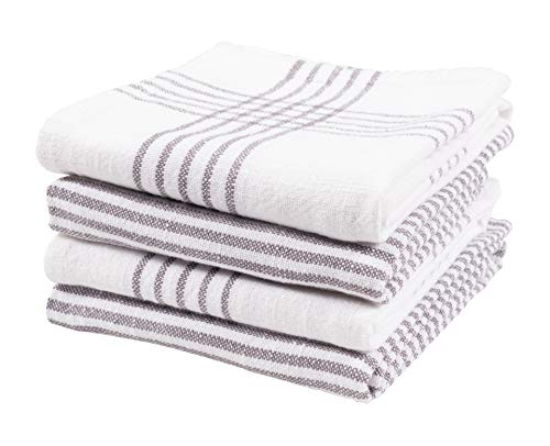 KAF Home Set of 4 Monaco Relaxed Casual Slubbed Kitchen Towel  100 Cotton Dish Towel 18 x 28 Inches  Soft and Absorbent Farmhouse Kitchen Towel  Set of 4 Gray