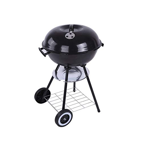 Round Kettle Holzkohlegrill Grill Garten Grill Picnic Family Party Camping Heat Control Tragbare W/Regal und Räder, Durchmesser 44 cm