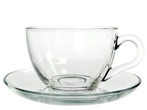 Pasabahce Basic Teeservice mit Untertasse, Glas, Transparent, 12 Teile