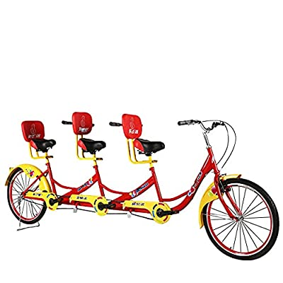 Pidelisem Tandem Bicycle for Three Persons to Ride A 24-inch High-Carbon Steel Double V-Brake Bicycle, Suitable for Travel, Weekend Parties, Park Walks, Many Colors (red)