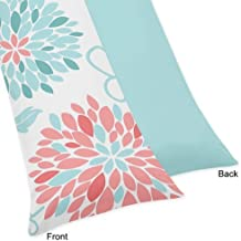 Sweet Jojo Designs Modern Turquoise and Coral Emma Full Length Double Zippered Body Pillow Case Cover
