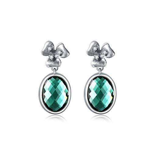 WOZUIMEI Chinese Style Earrings Eardrop Thai Silver Female Handmade Earrings Long Temperament Simple Cut Face Crystal Earrings Jewelry Earrings S925 Silver Earringsgreen