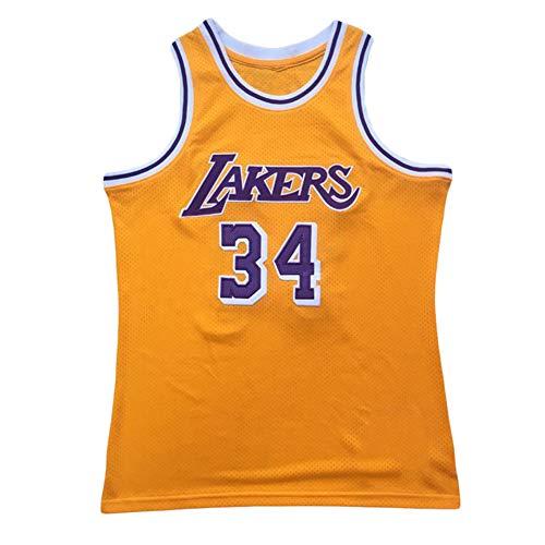# 34 Lakers O'Neal Basketball Trikot Anzug Weste T-Shirt Sportswear Trainingskleidung O'Neal Fans Outfit Mantel Männer Dichte Stickerei Teenager Ostern Weihnachten gelbe Geschenke-M