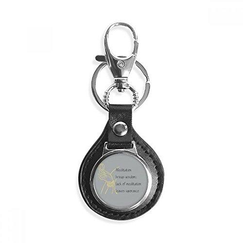 Meditatie Brengt Wijze Boeddha Quote Lederen Metalen Sleutelhanger Ring Auto Sleutelhanger Gift