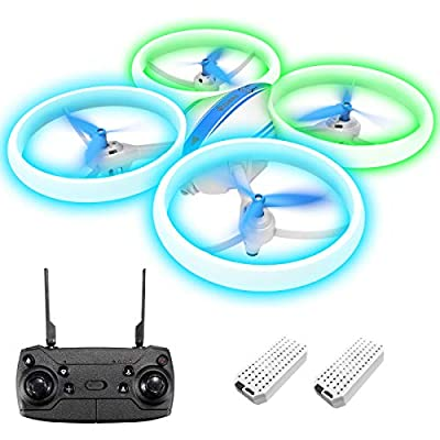 EACHINE E65H Mini Drone with Altitude Hold & Headless Mode, 360°Rotation, Auto Return, Propellers Full Protect, LED Lights, Easy to Fly Drone 2 Batteries (Blue)