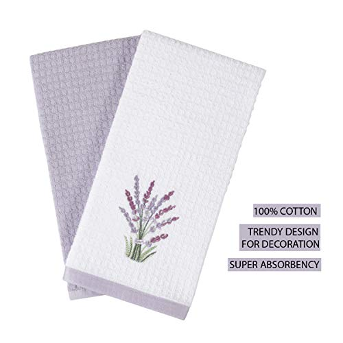 Hiera Home Kitchen Hand Towels - Ultra Soft Cotton and Super Absorbent Dishcloths for Kitchen, Terry Kitchen Dish Towel Set of 2, Super Soft and Absorbent, 16x24 inches, (Lavender)