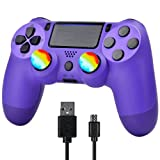 YU33 Wireless Game Controller, Compatible with PS4 Console,YU33 Remote Control Intended for Playstation 4 Host with Charging Cable and Double Shock (Purple Gamepad,2021 New Model Joystick)