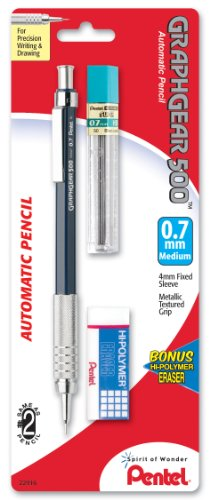 Pentel Drafting Kit with Graph Gear 500 Automatic Drafting Pencil, 0.7mm, Blue Barrel, Lead and Mini Eraser (PG527LEBP)