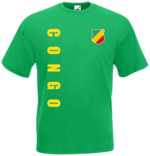 Kongo Congo T-Shirt Trikot Wunschname Wunschnummer (Maigrün, XXL)