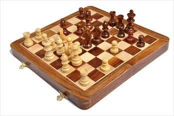 FOLDING WOODEN MAGNETIC Travel Chess Set - 10'