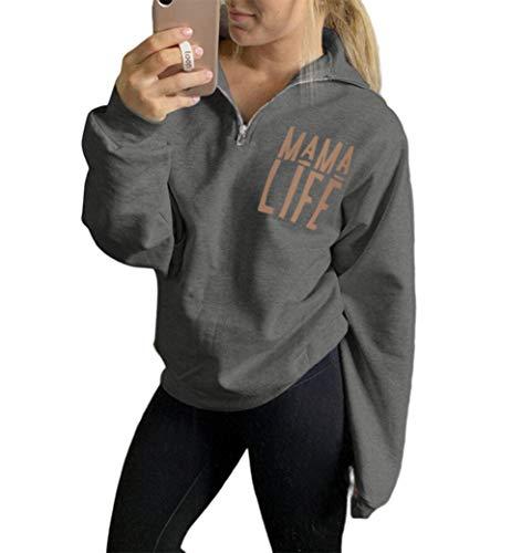Women Mama Life Zip Up Pullover Sweatshirt Jacket High Collar Quarter 1/4 Zip Hoodie Coat (Grey, XL)