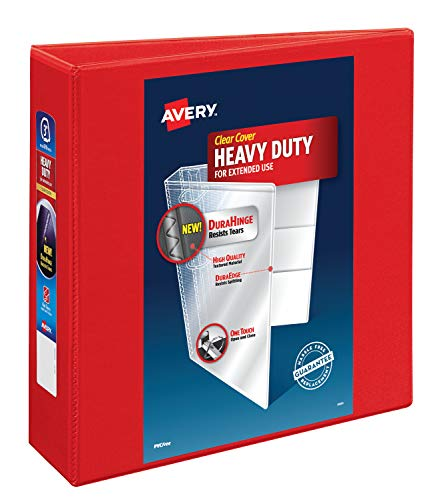 "Avery Heavy Duty View 3 Ring Binder,3"" One Touch EZD Ring, Holds 8.5"" x 11"" Paper, 1 Red Binder (79325)"