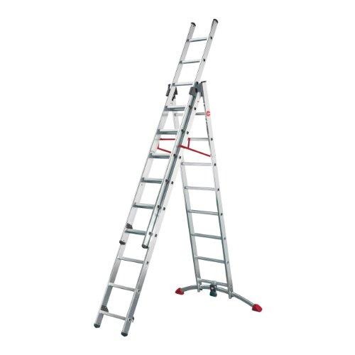 Hailo ProfiLOT, 3-teilige Alu-Kombileiter, 2x9+1x8 Sprossen, LOT-System, Treppenverstellung, Transportsicherung, bis 150 kg, made in Germany, 9309-101