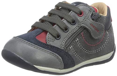 Geox Baby-Jungen B Each Boy B First Walker Shoe, (Dk Grey/Red), 22 EU