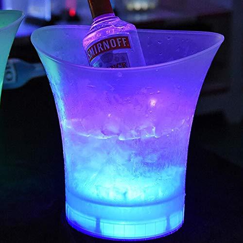Uziqueif Secchiello Ghiaccio LED Secchiello Ghiaccio Vino 5L portaghiaccio per Bottiglie per Matrimoni KTV Party Bar Home,Multi Colored