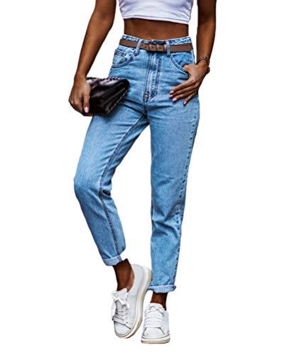 Onsoyours Damen Jeans Boyfriend High Waist Jeanshose Locker Lang Boyfriend Jeans Blau Hose Jeans Straight Lässig Weich Hose Mit Knopfleiste Z1 Blau S